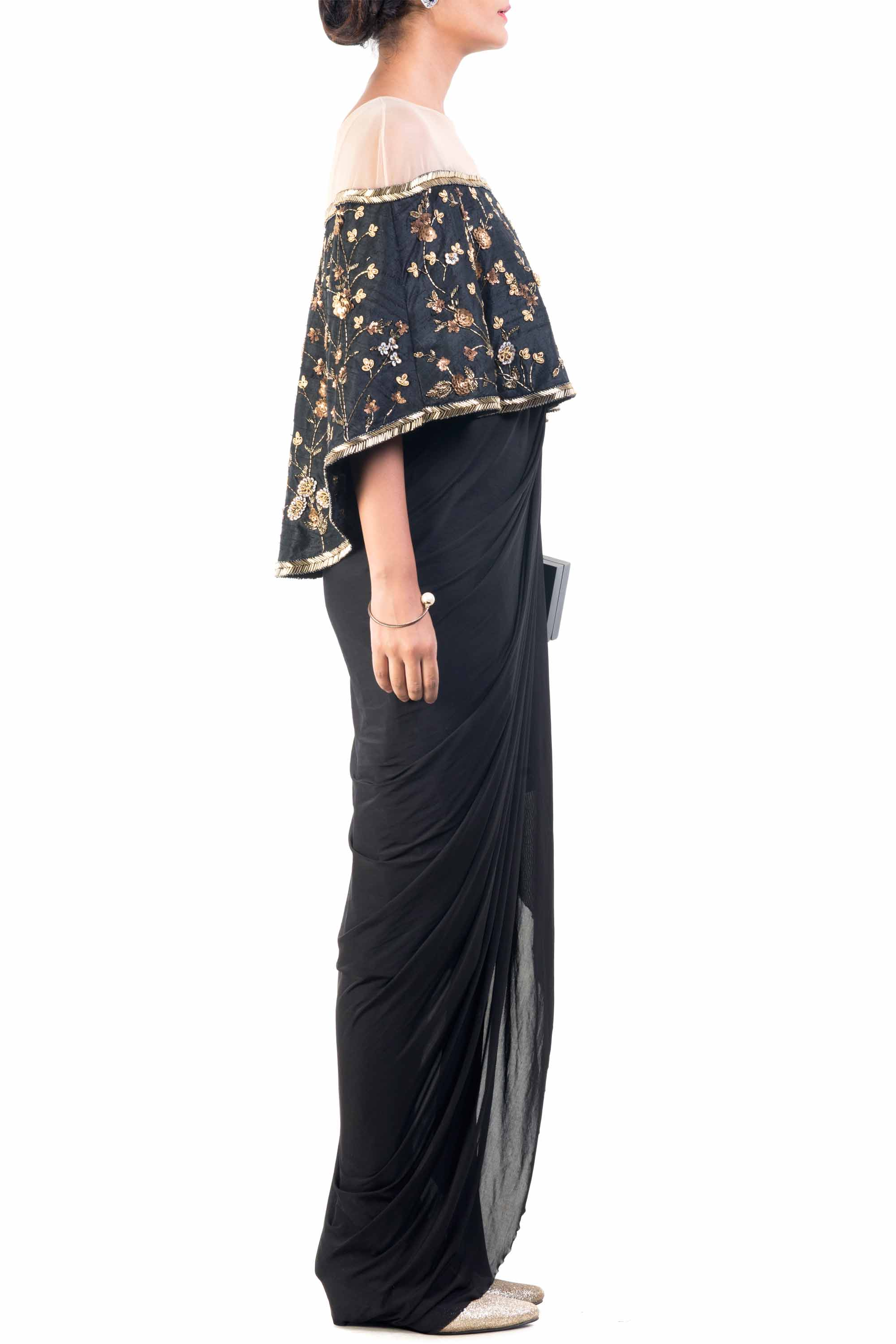 Gilded Black Cocktail Cape Set Side