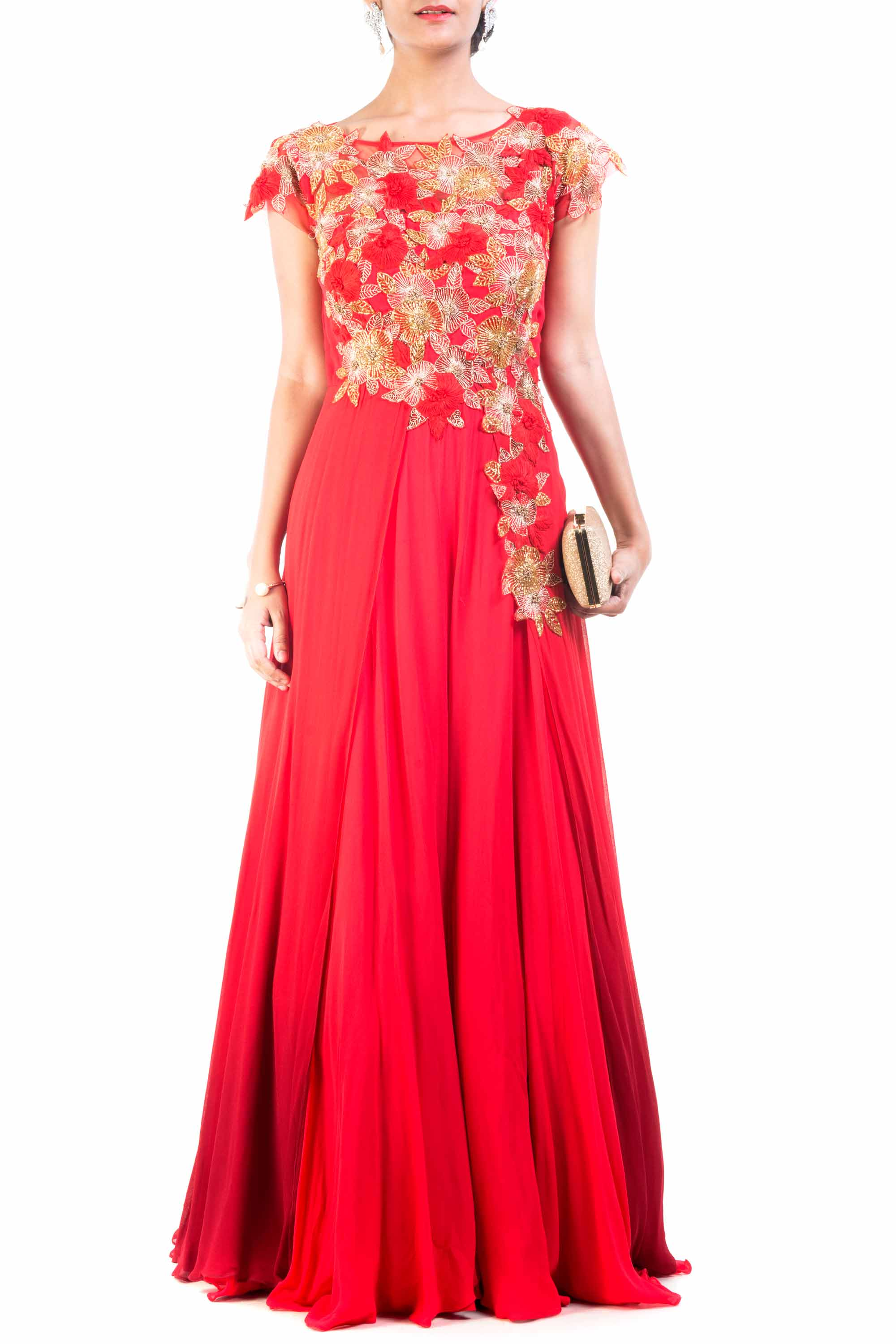 Red Wine Ombre Gown Front