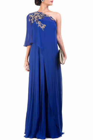 Classic Blue One Shoulder Dress Front