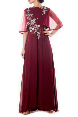 Royal Maroon Cape Sleeves Palazzo Set Front