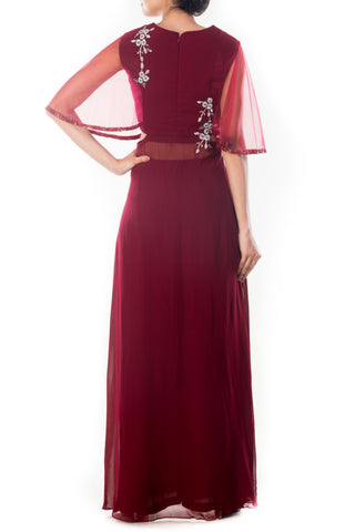 Royal Maroon Cape Sleeves Palazzo Set