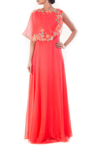 Coral Peach Cape Gown Front