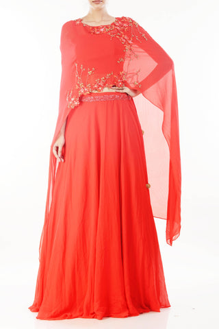 Tomato Red Long Cape & Skirt Set Front
