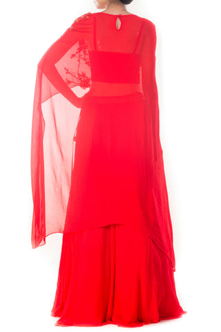 Tomato Red Long Cape & Skirt Set
