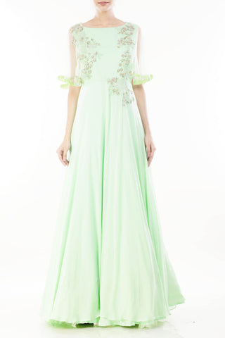 Pistachio Green Cape Sleeves Gown Front