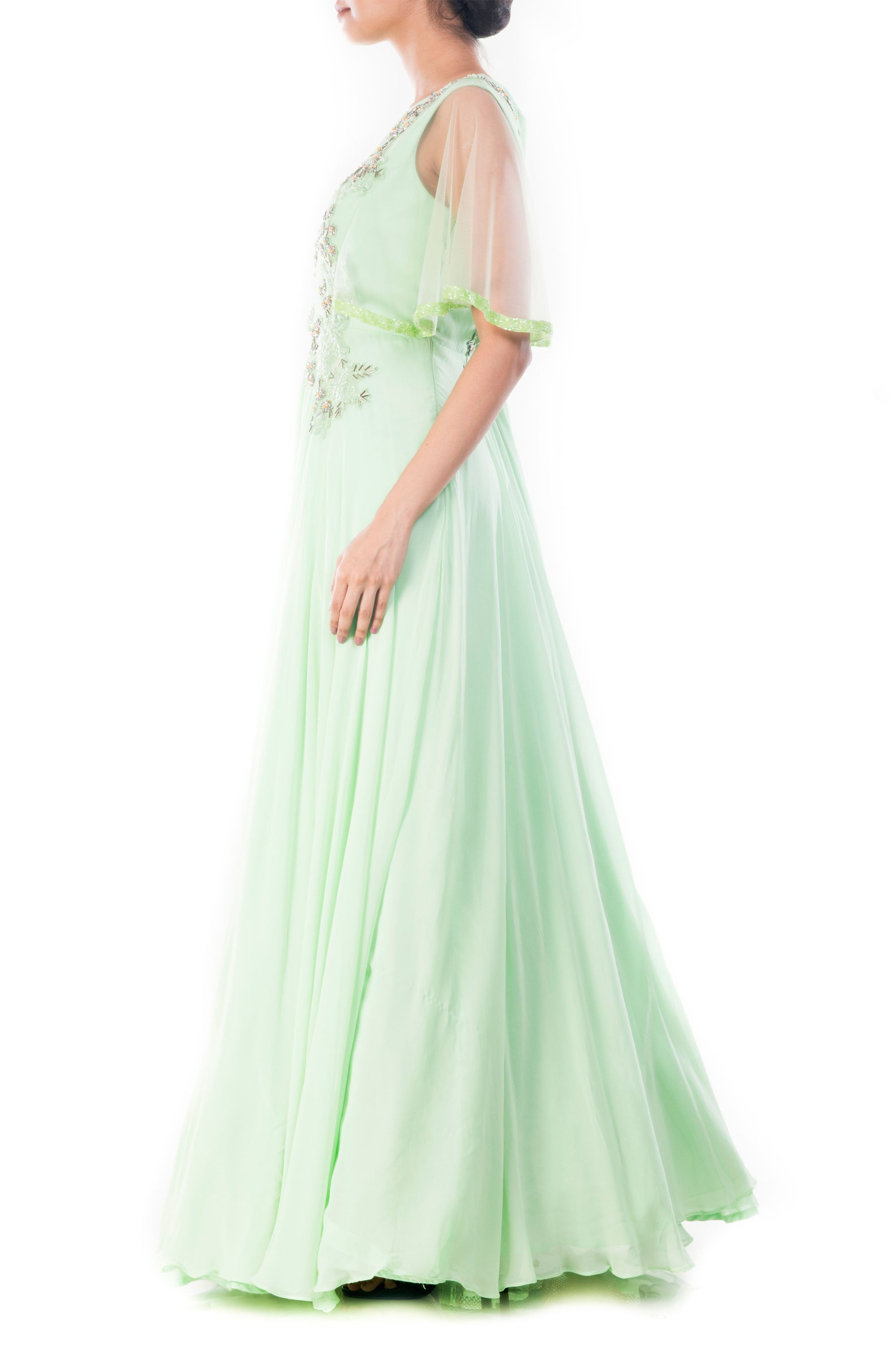 Pistachio Green Cape Sleeves Gown Side