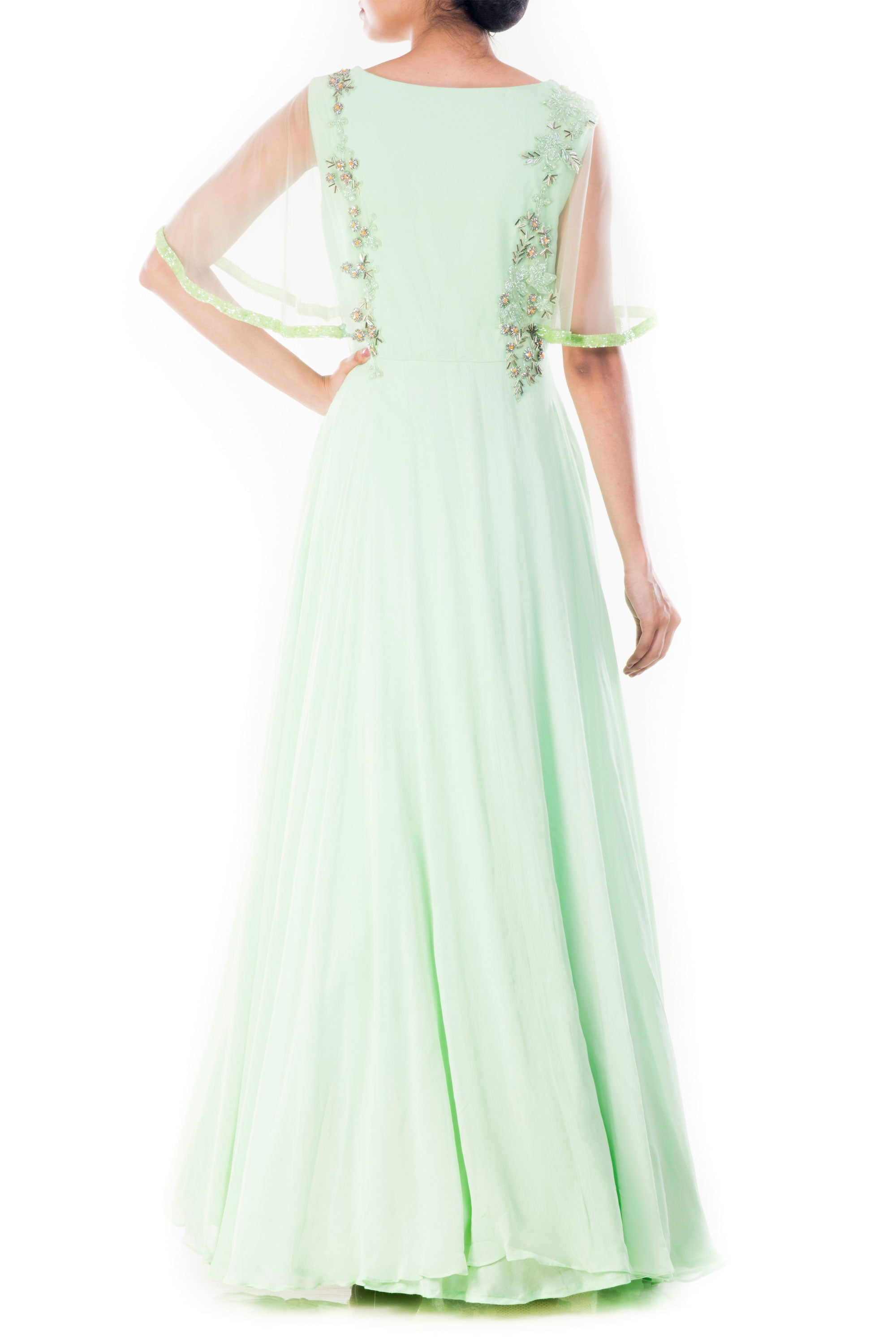 Pistachio Green Cape Sleeves Gown Back