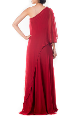 Wine Red Drop Shoulder Cape Dress