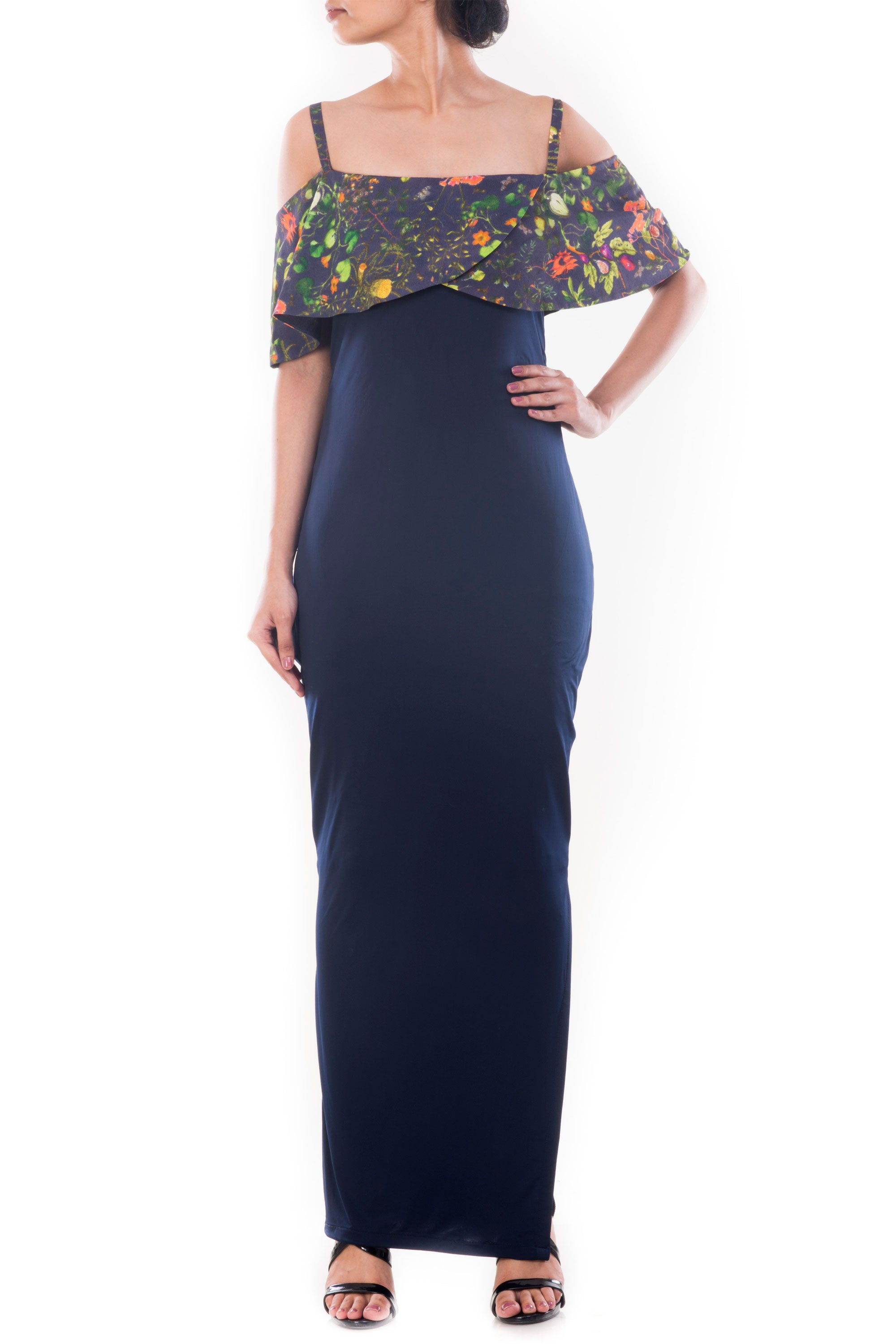 Midnight Blue Garden Print Off Shoulder Dress Front
