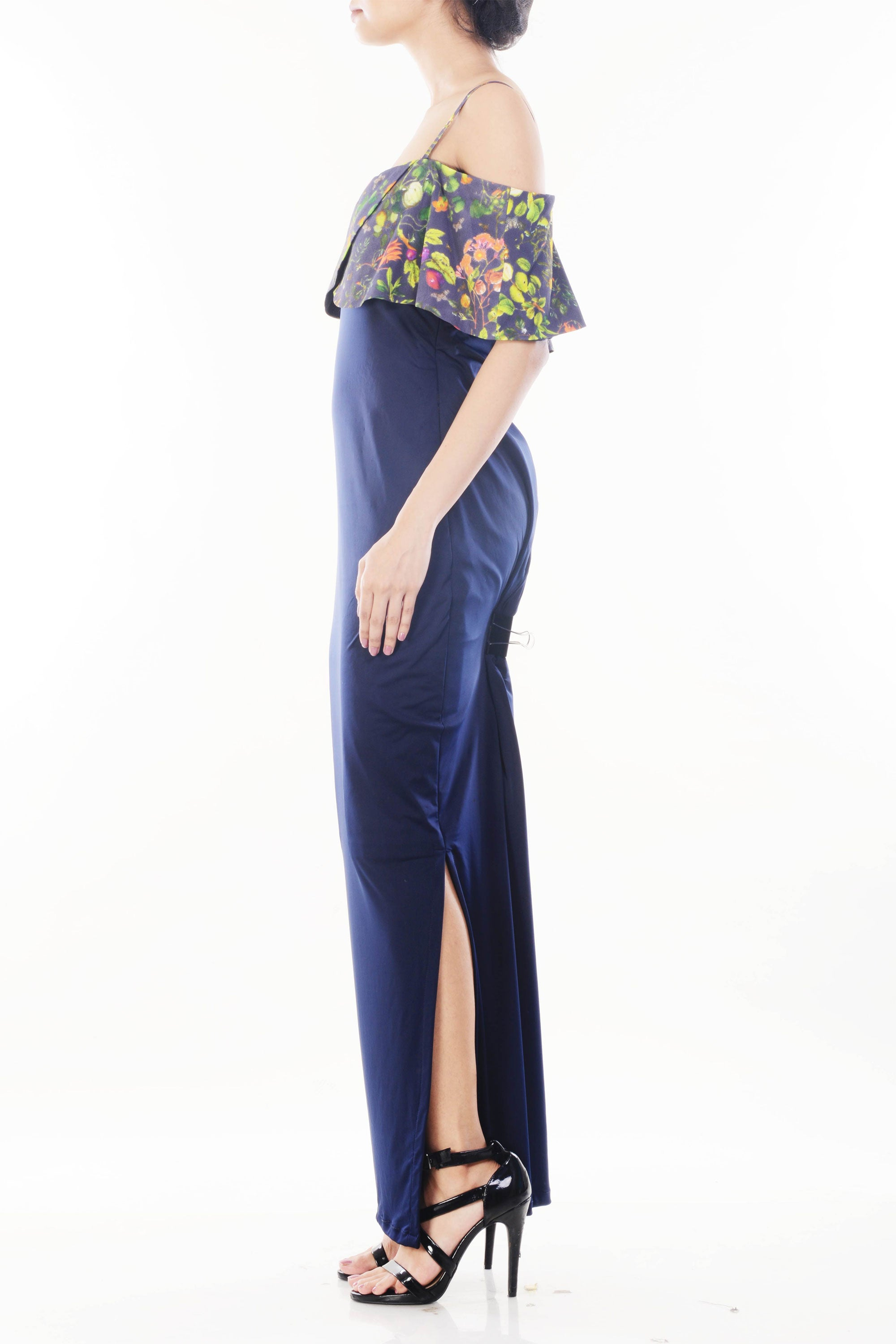 Midnight Blue Garden Print Off Shoulder Dress Side