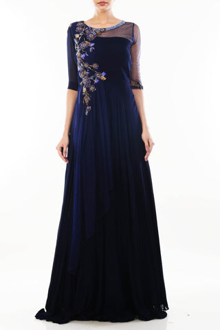 Royal Blue Long Dress With Attached Dupatta Front