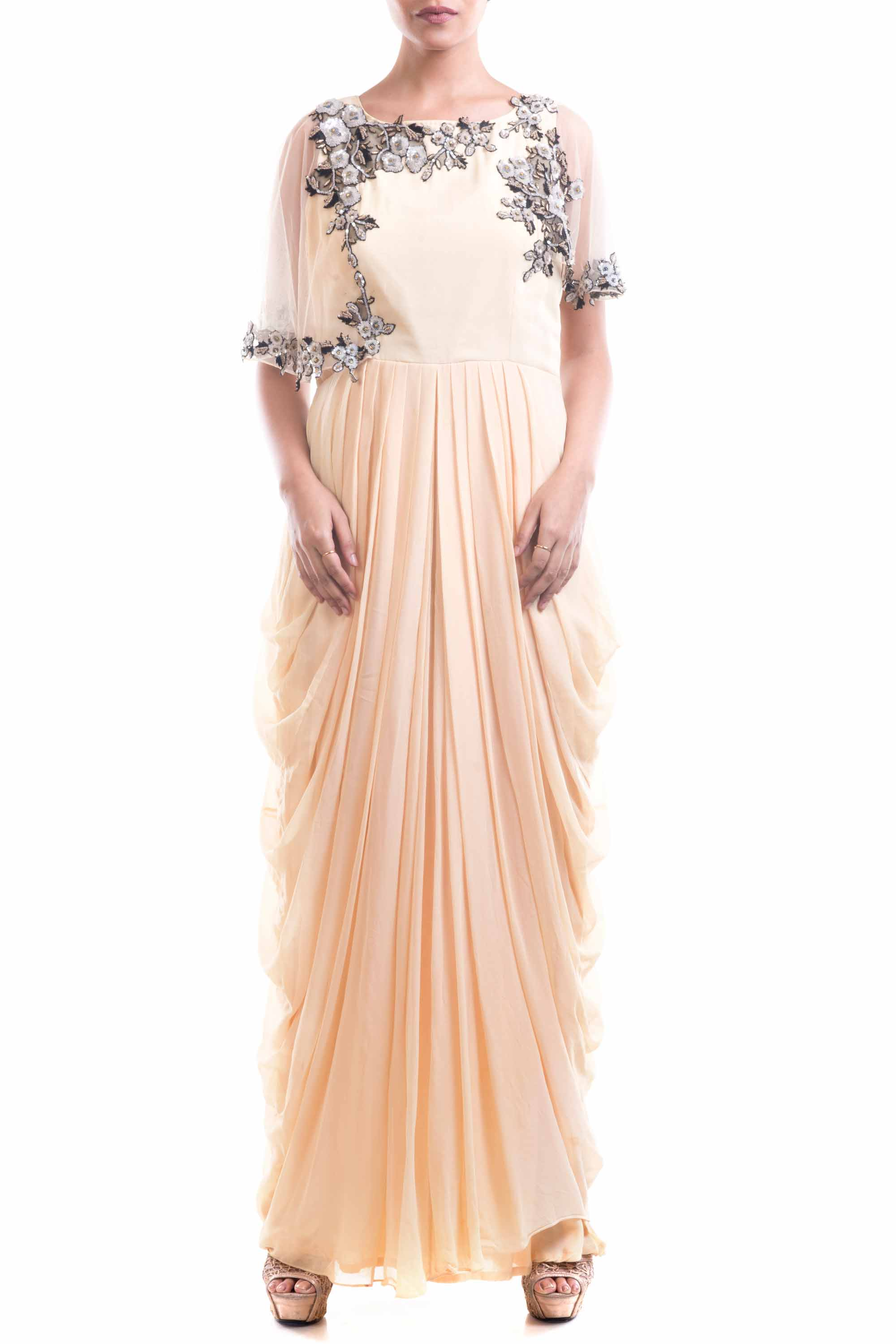 Georgette Dhoti Drape Gown Front