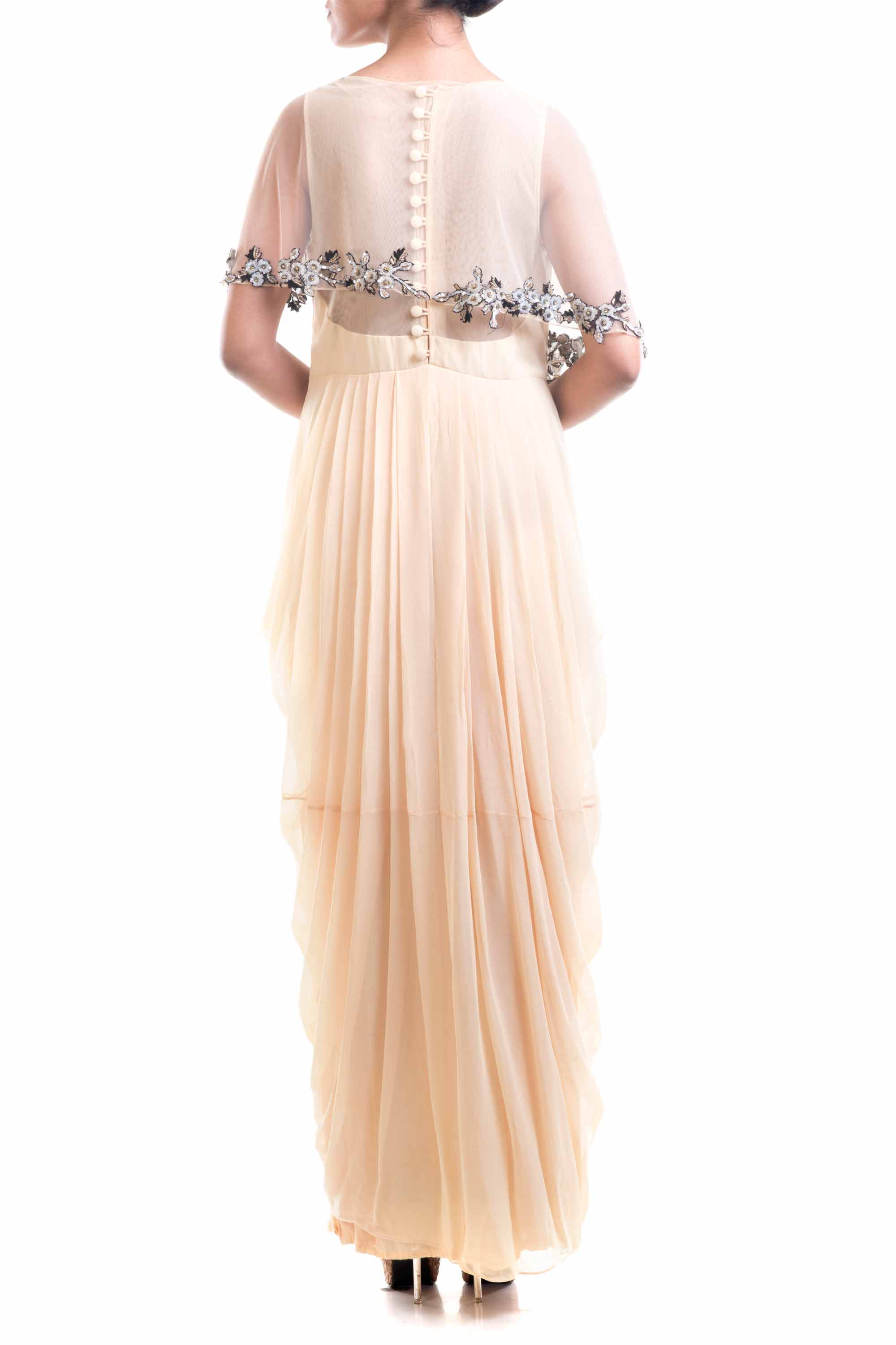Georgette Dhoti Drape Gown Back