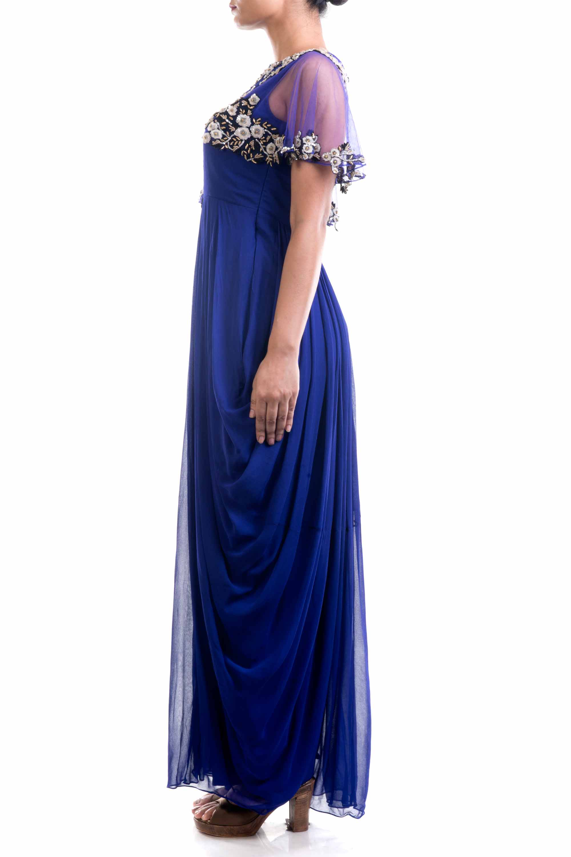 Indigo Blue Dhoti Drape Gown Side