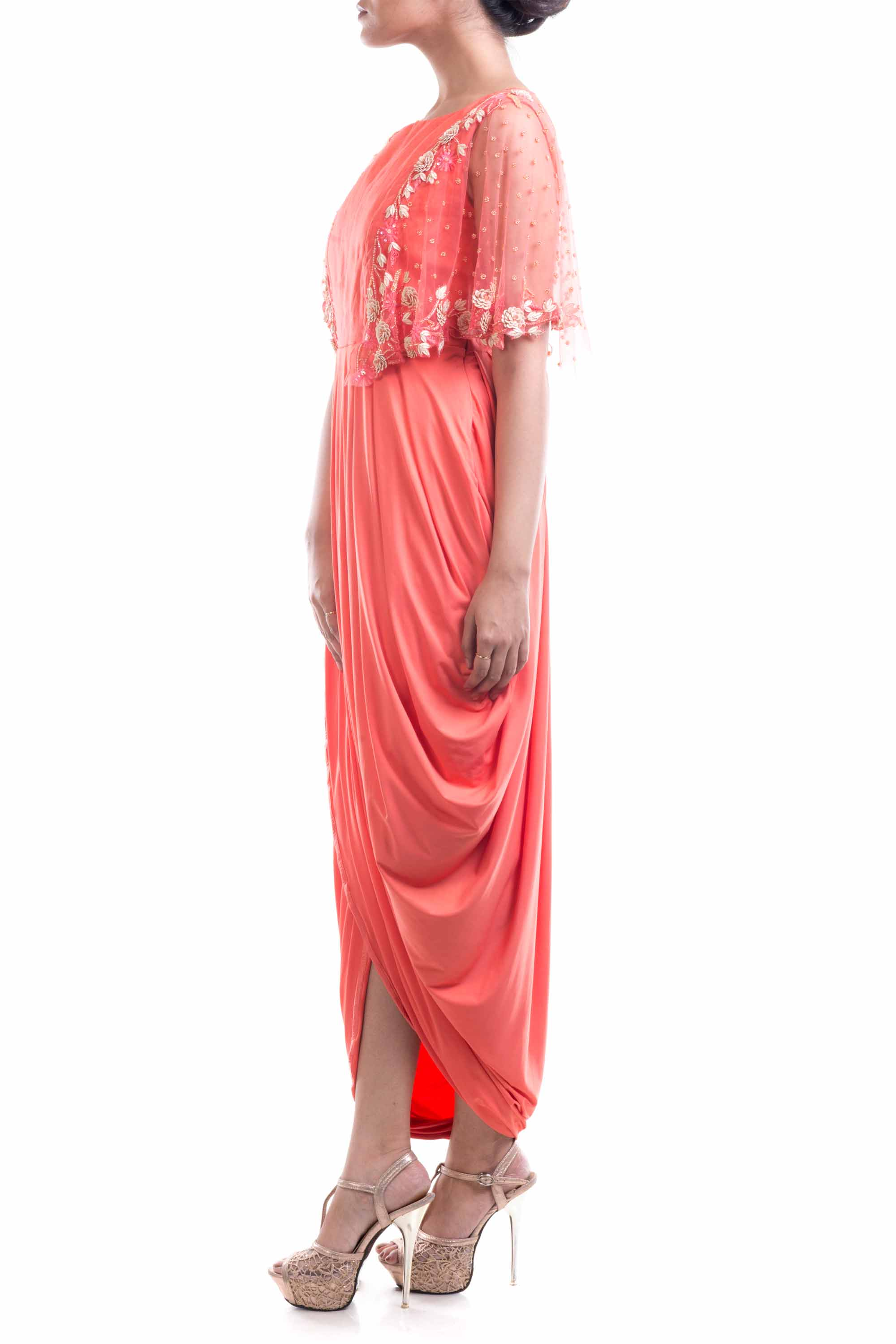 Peach Organza Dhoti Drape Gown Side