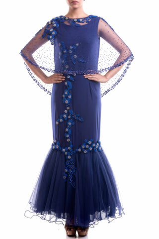Navy Blue Cape Fishtail Gown Front