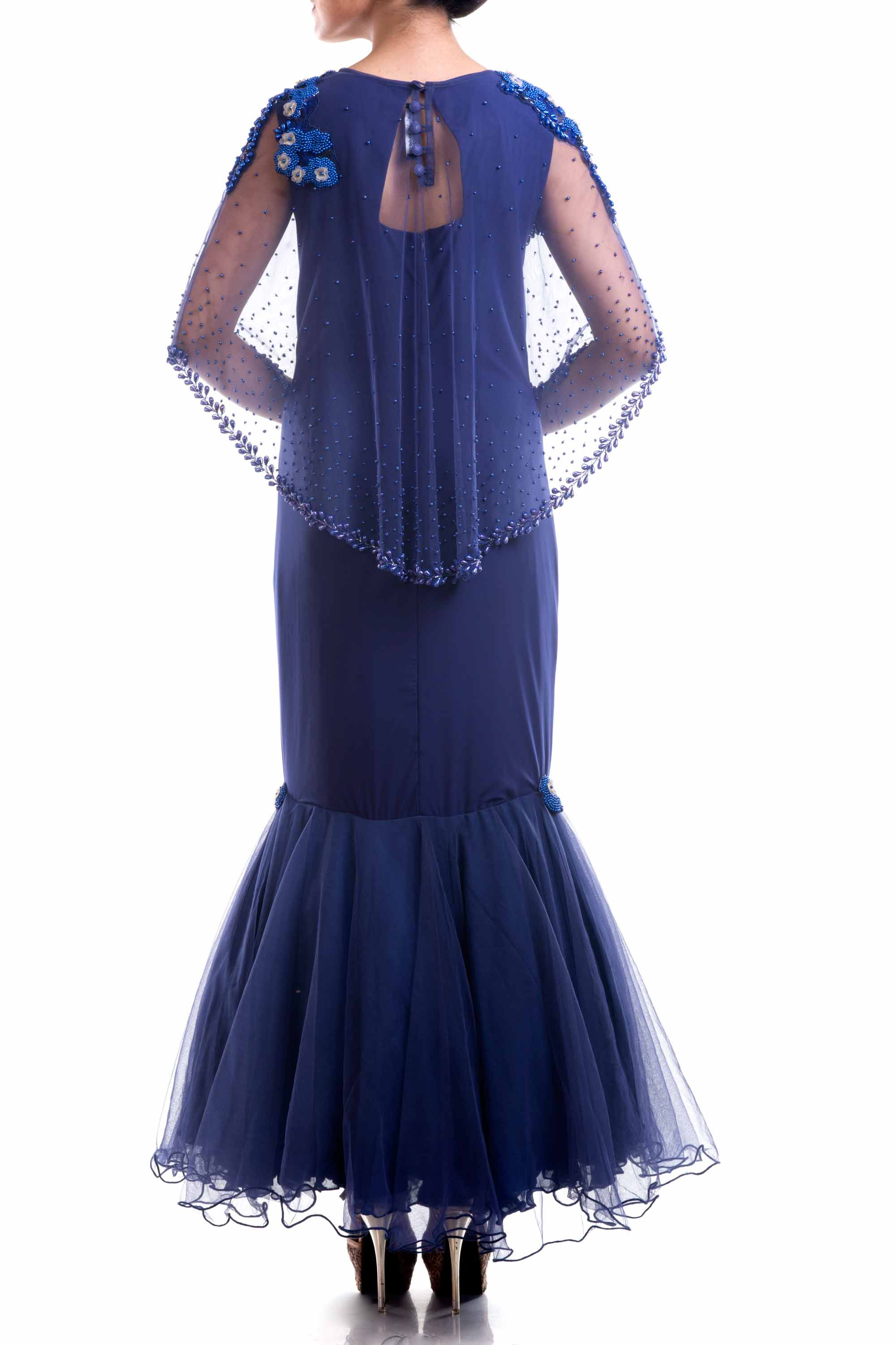 Navy Blue Cape Fishtail Gown Back