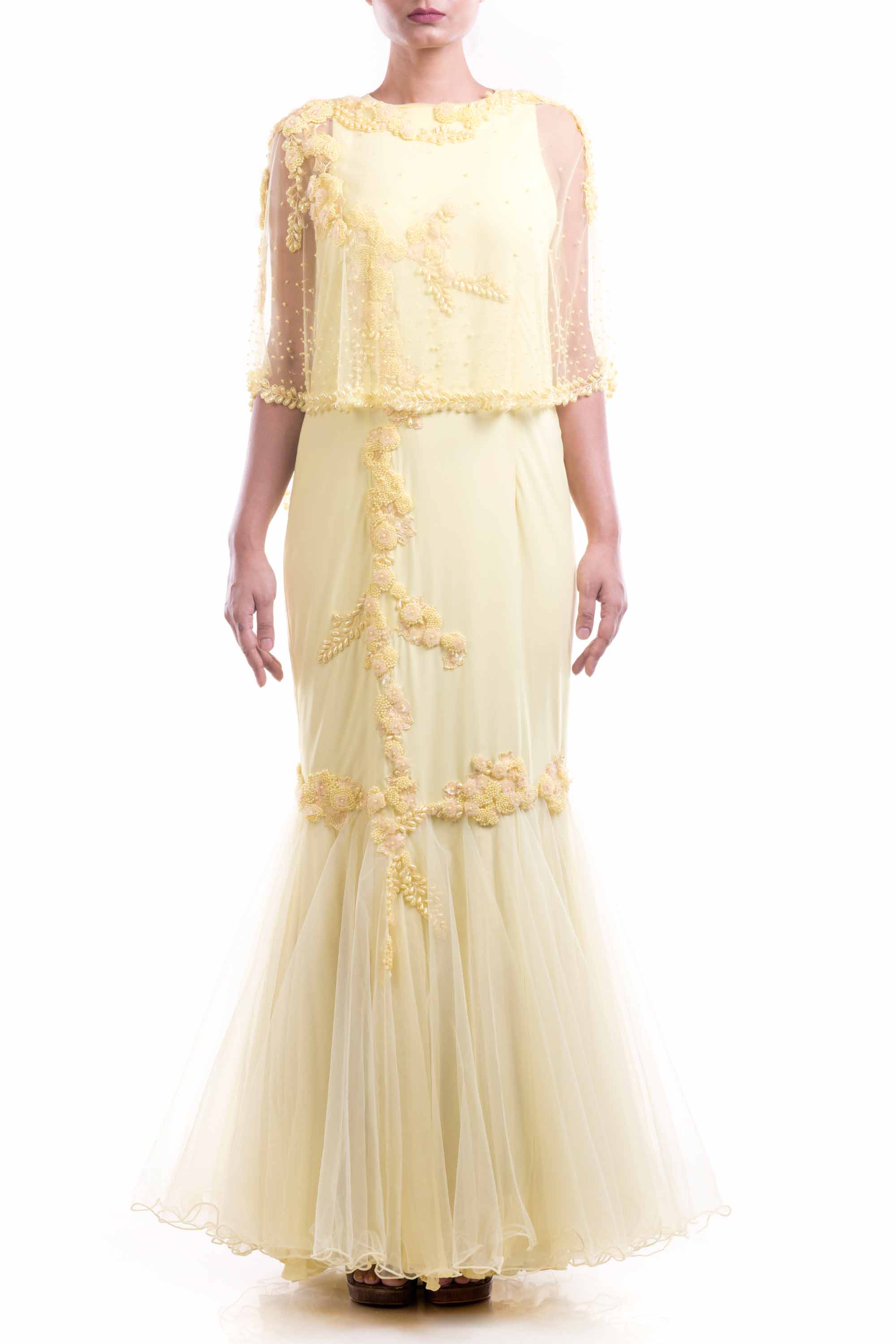 Lemon Yellow Cape Fishtail Gown Front