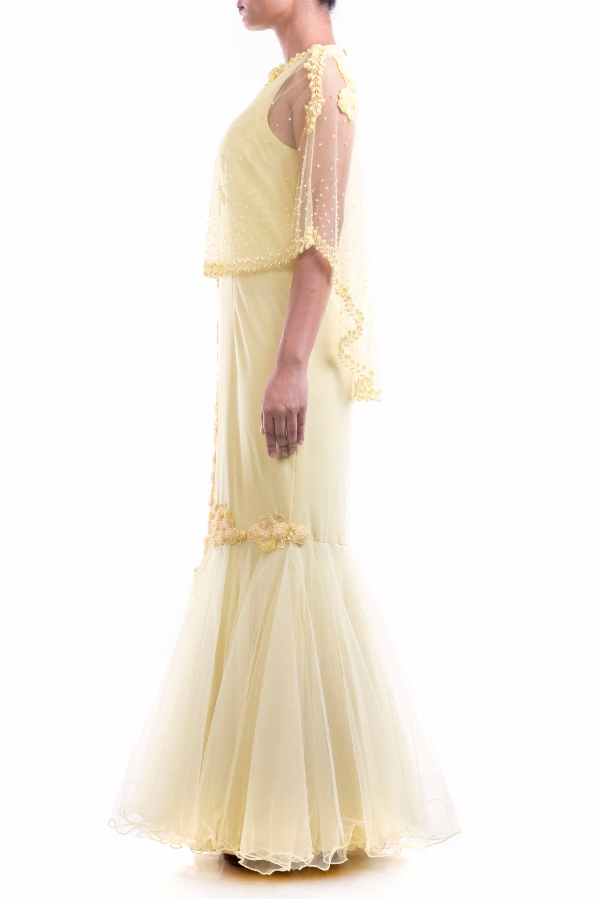 Lemon Yellow Cape Fishtail Gown Side