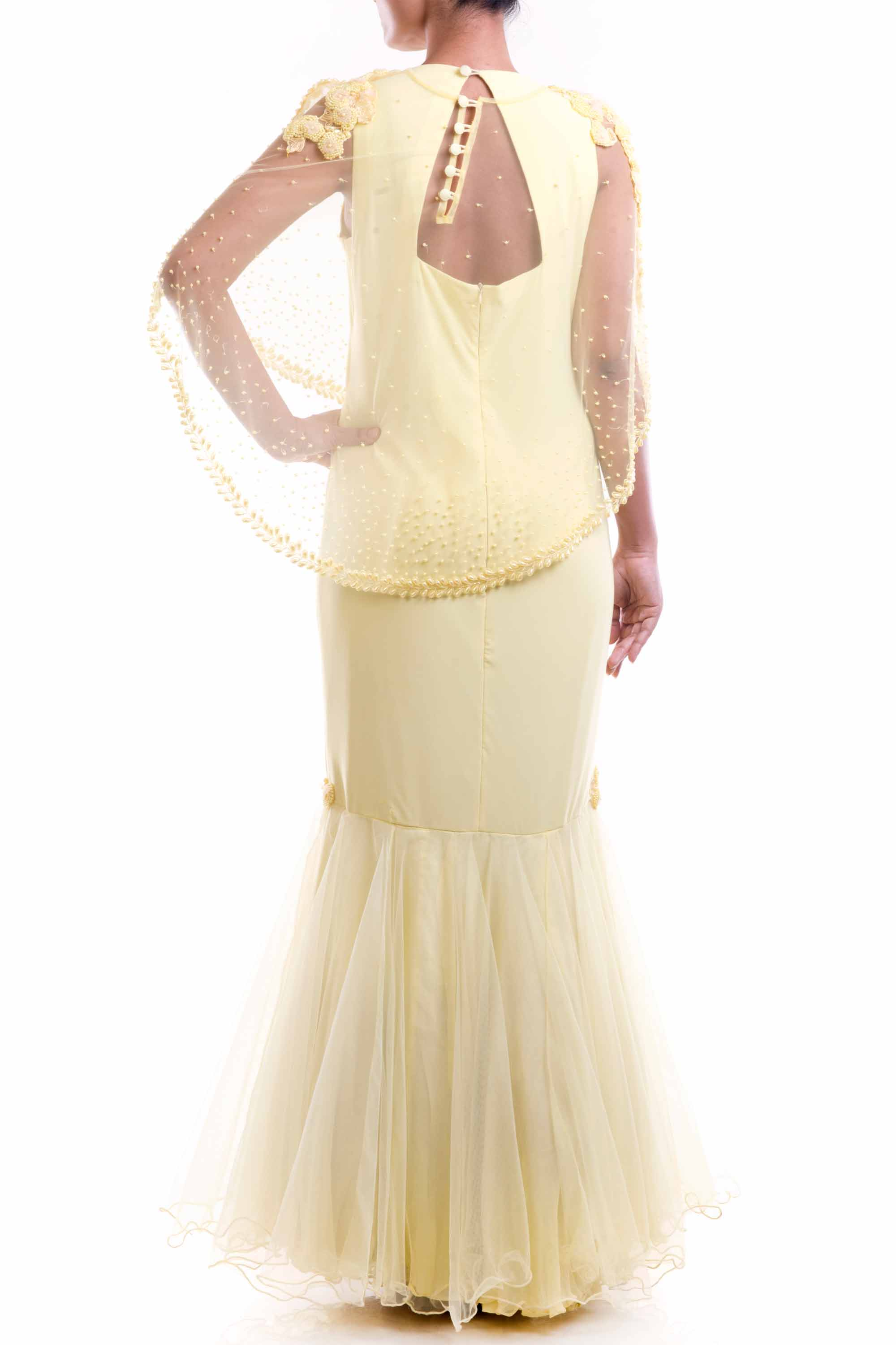 Lemon Yellow Cape Fishtail Gown Back