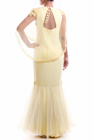 Lemon Yellow Cape Fishtail Gown