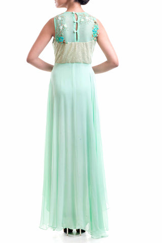 Aqua Green Embellished Gown