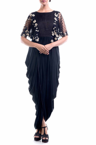Black Gown With Cape Front
