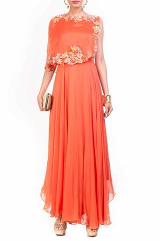 Tangerine Cape Dress Front