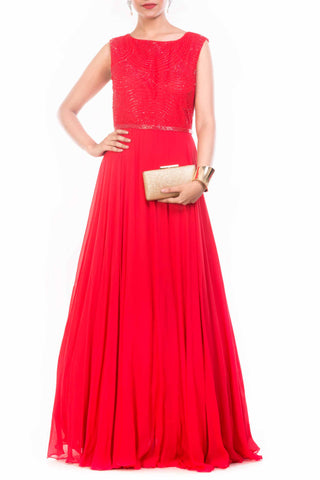 Blood Red Pearl Embellished Gown Front