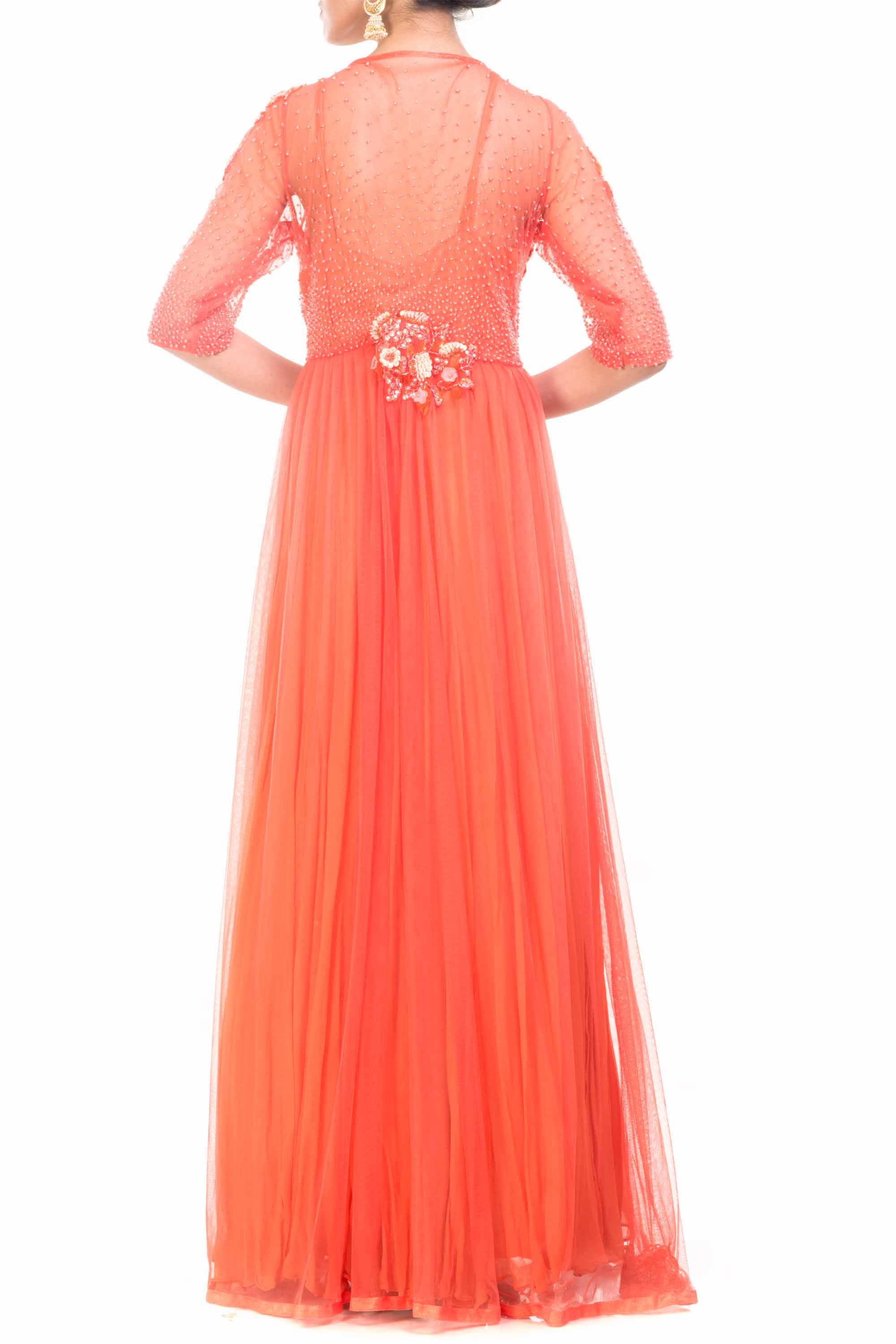 Jacket Style Orange Gown Back