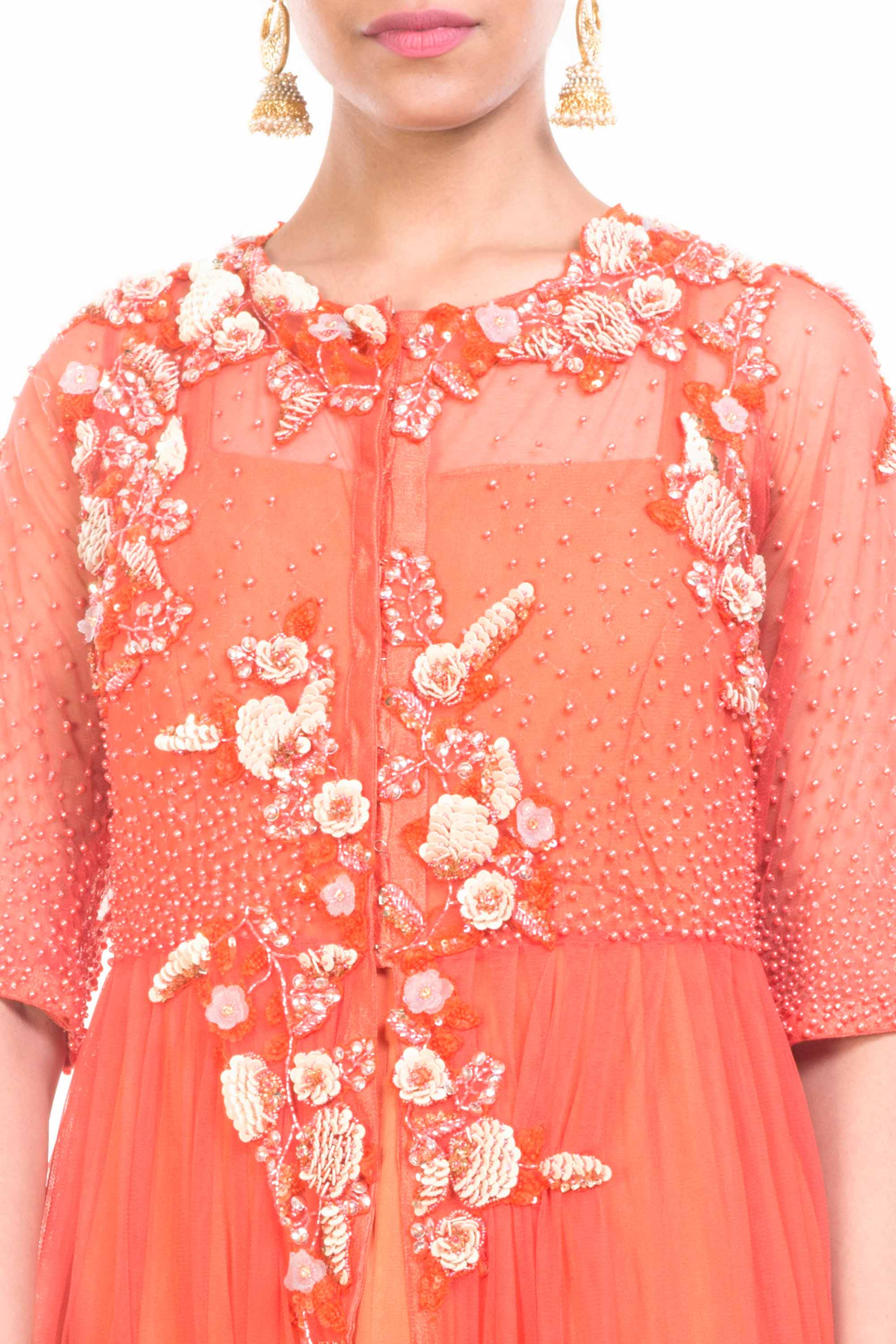 Jacket Style Orange Gown Closeup