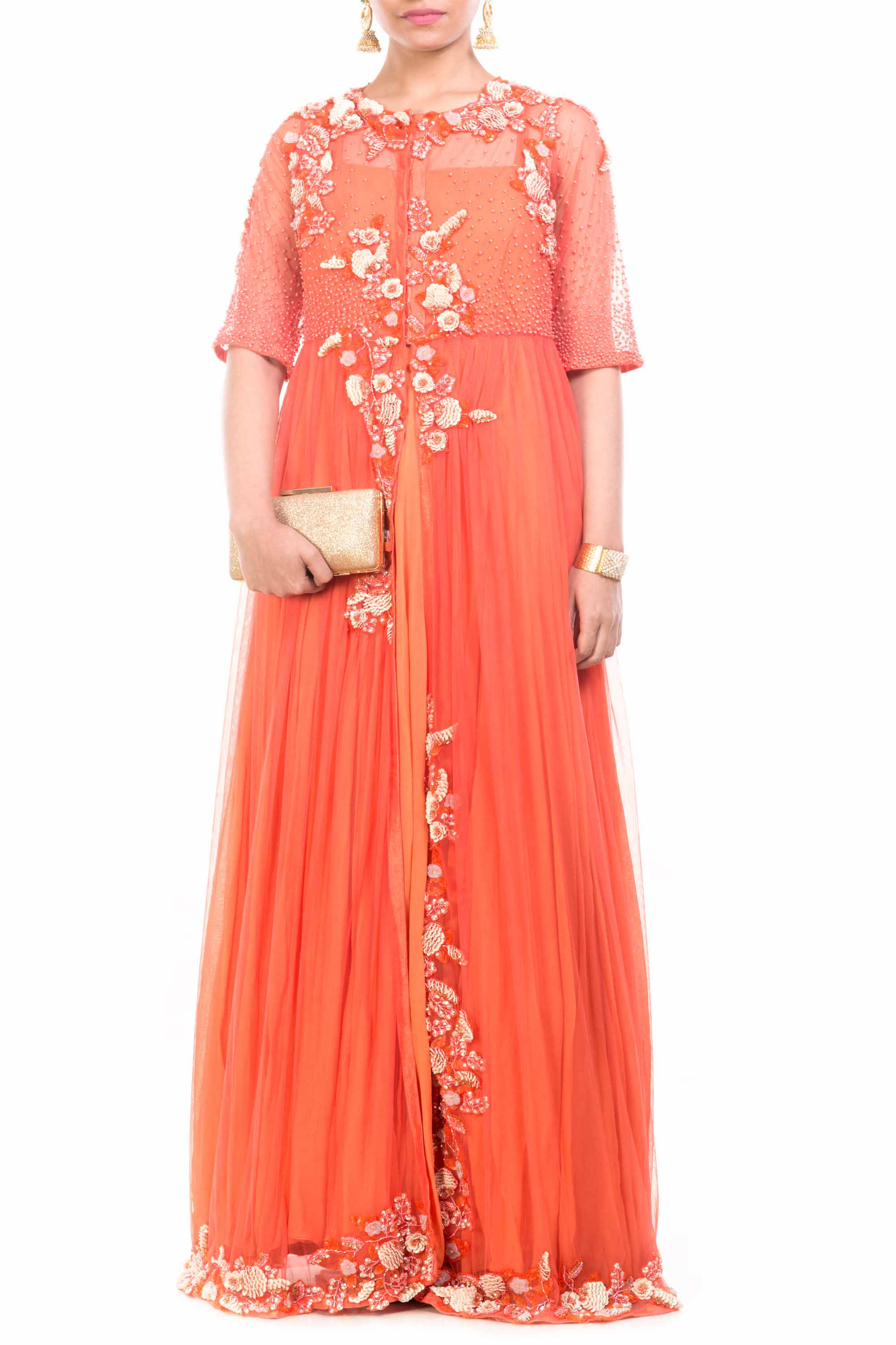 Jacket Style Orange Gown Front