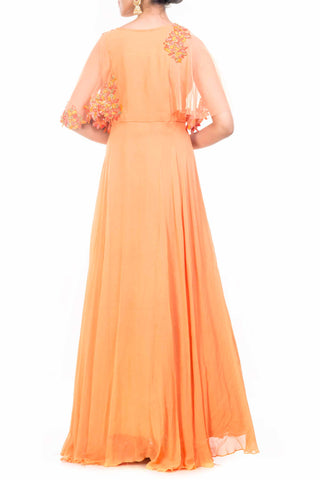 Orange Cape Gown