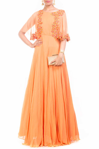 Orange Cape Gown Front