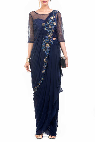 Navy Blue Dhoti Drape Saree Front