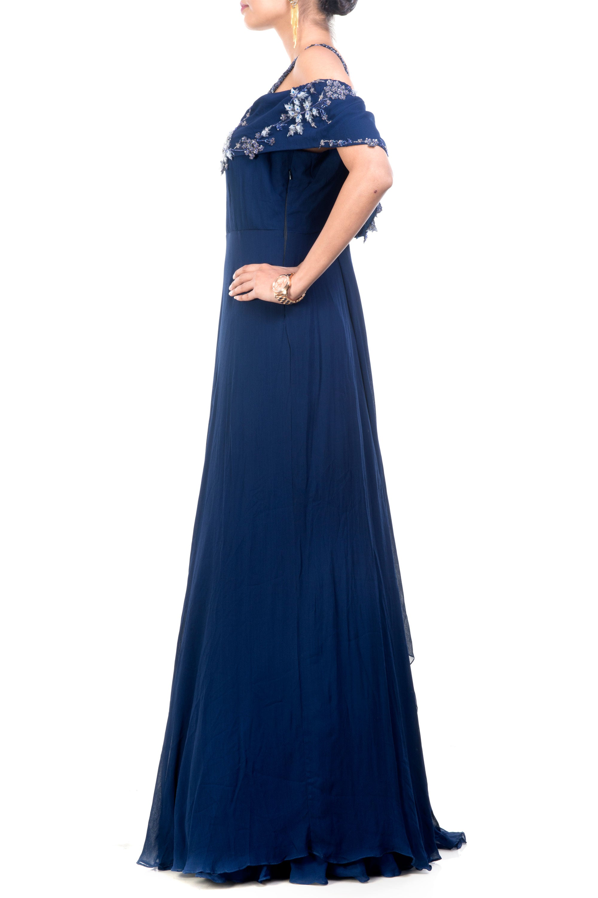 Navy Blue Off Shoulder Gown Side