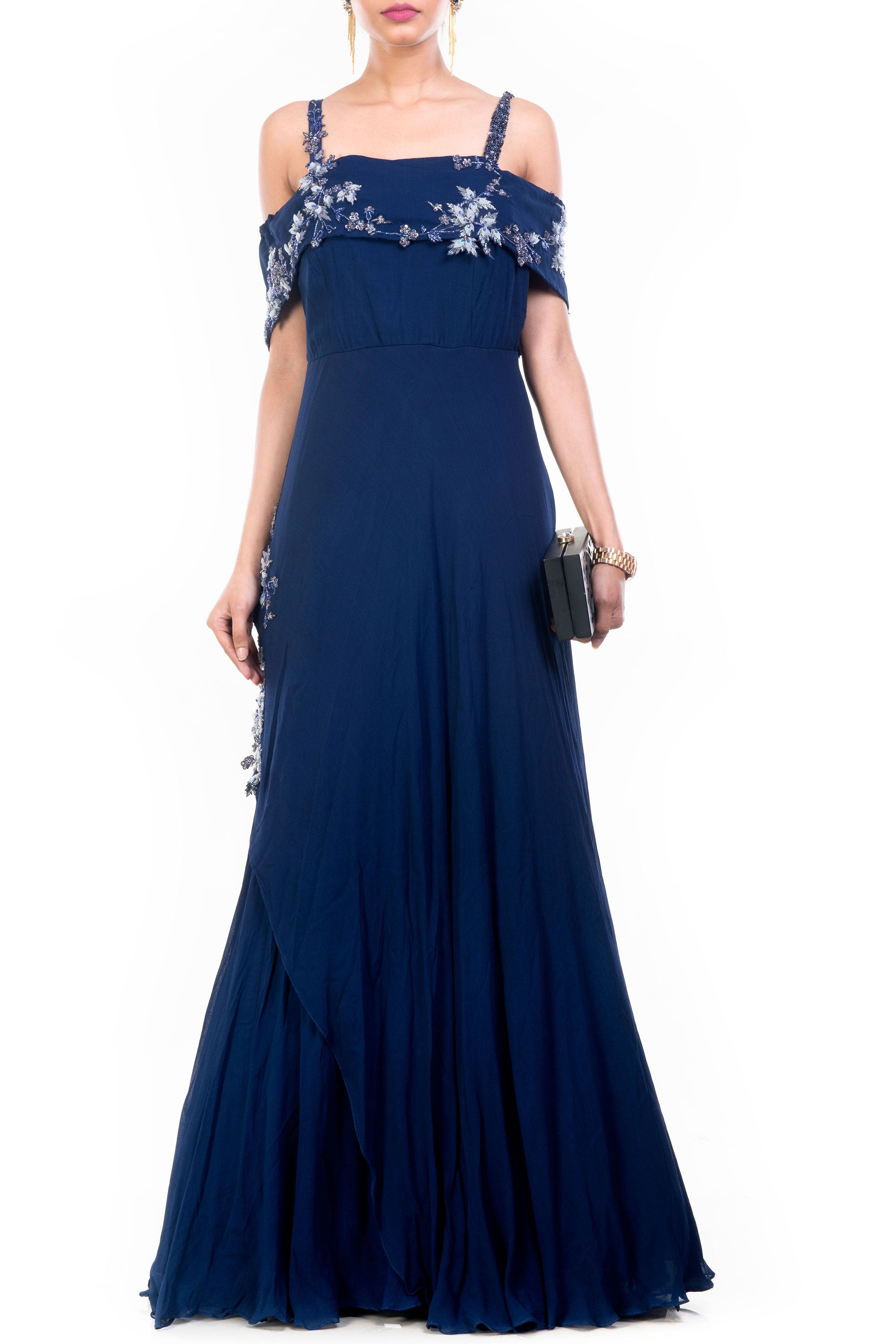 Navy Blue Off Shoulder Gown Front