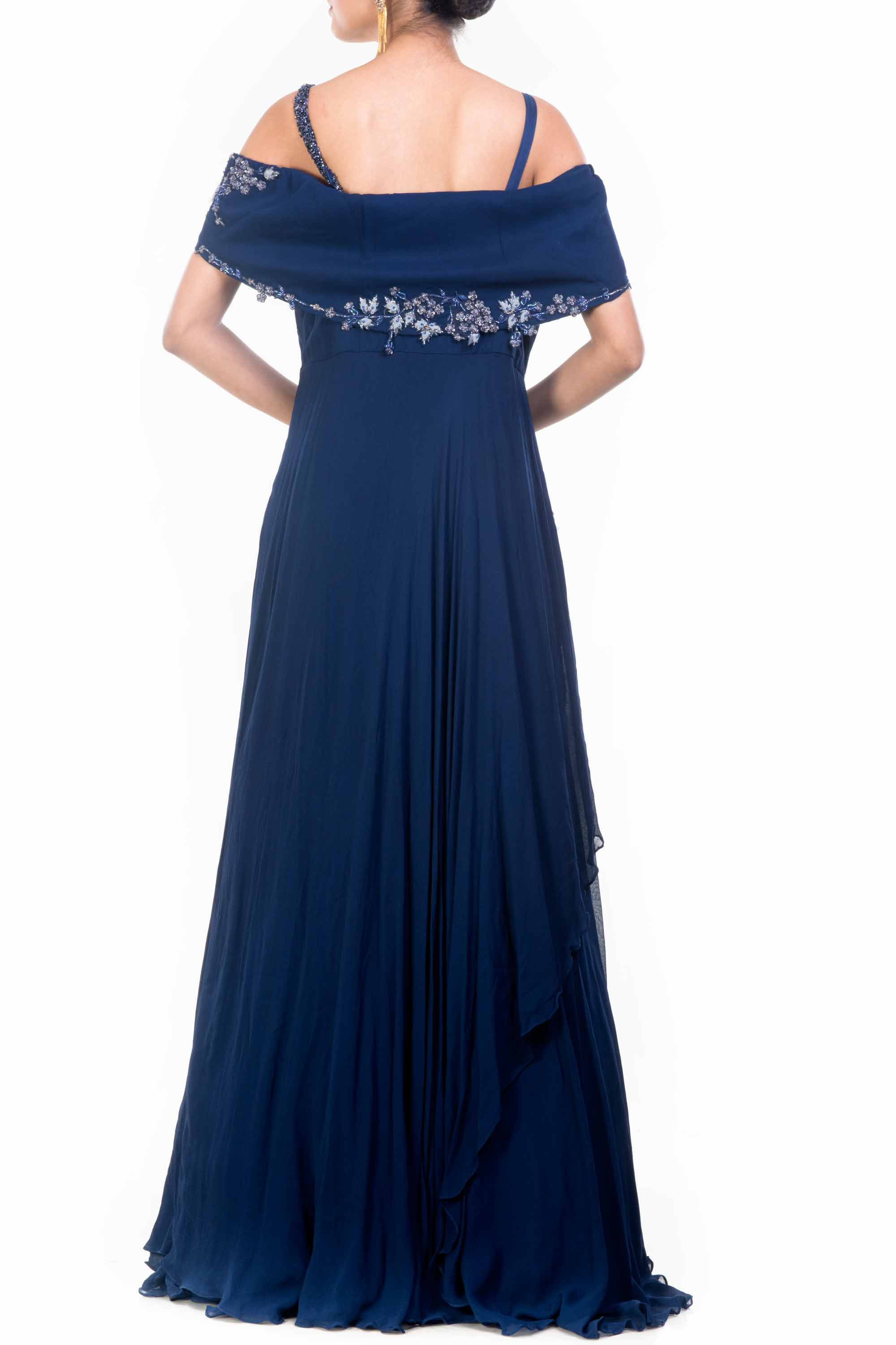 Navy Blue Off Shoulder Gown Back
