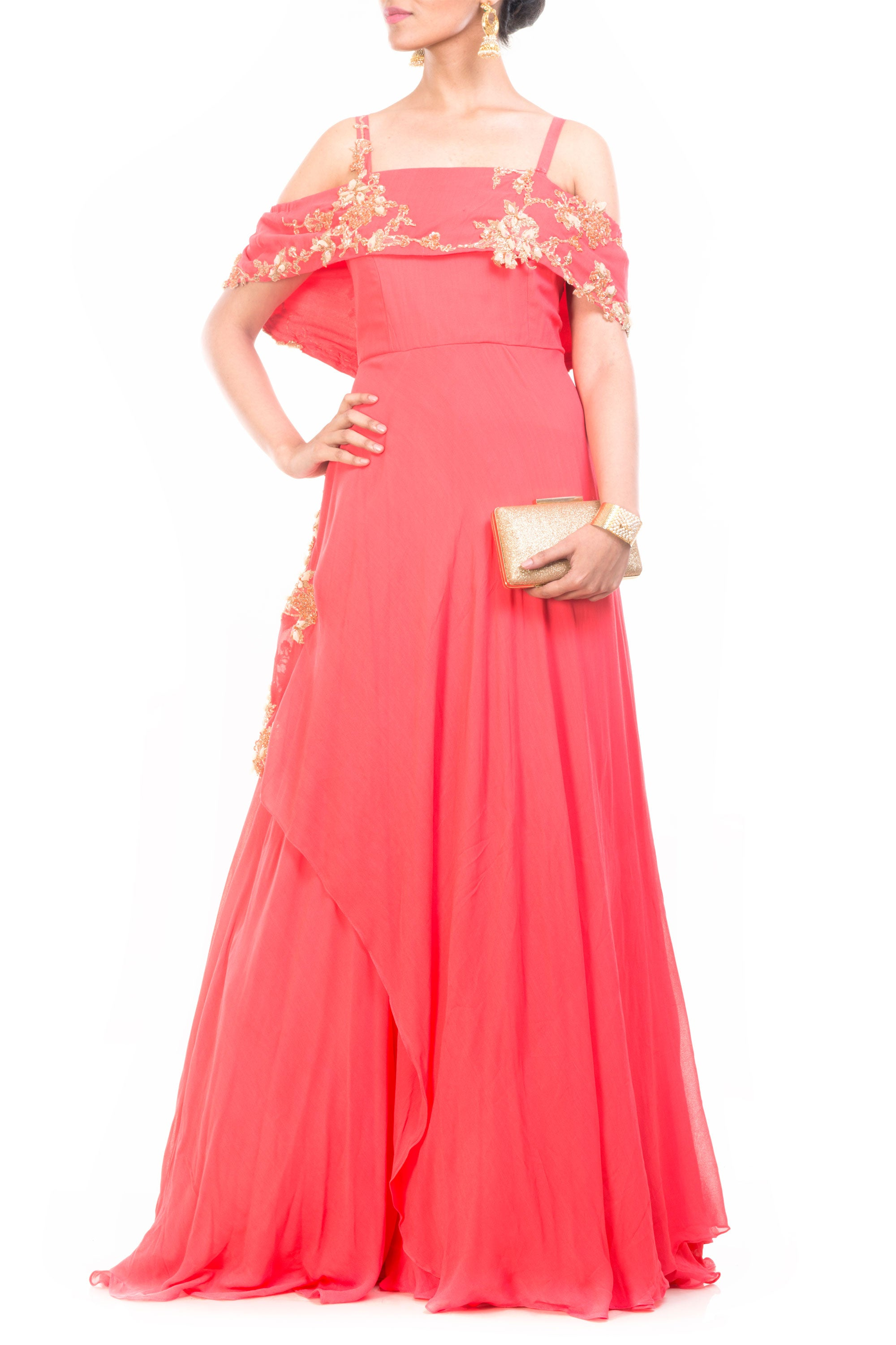 Peach Off Shoulder Cape Gown Front