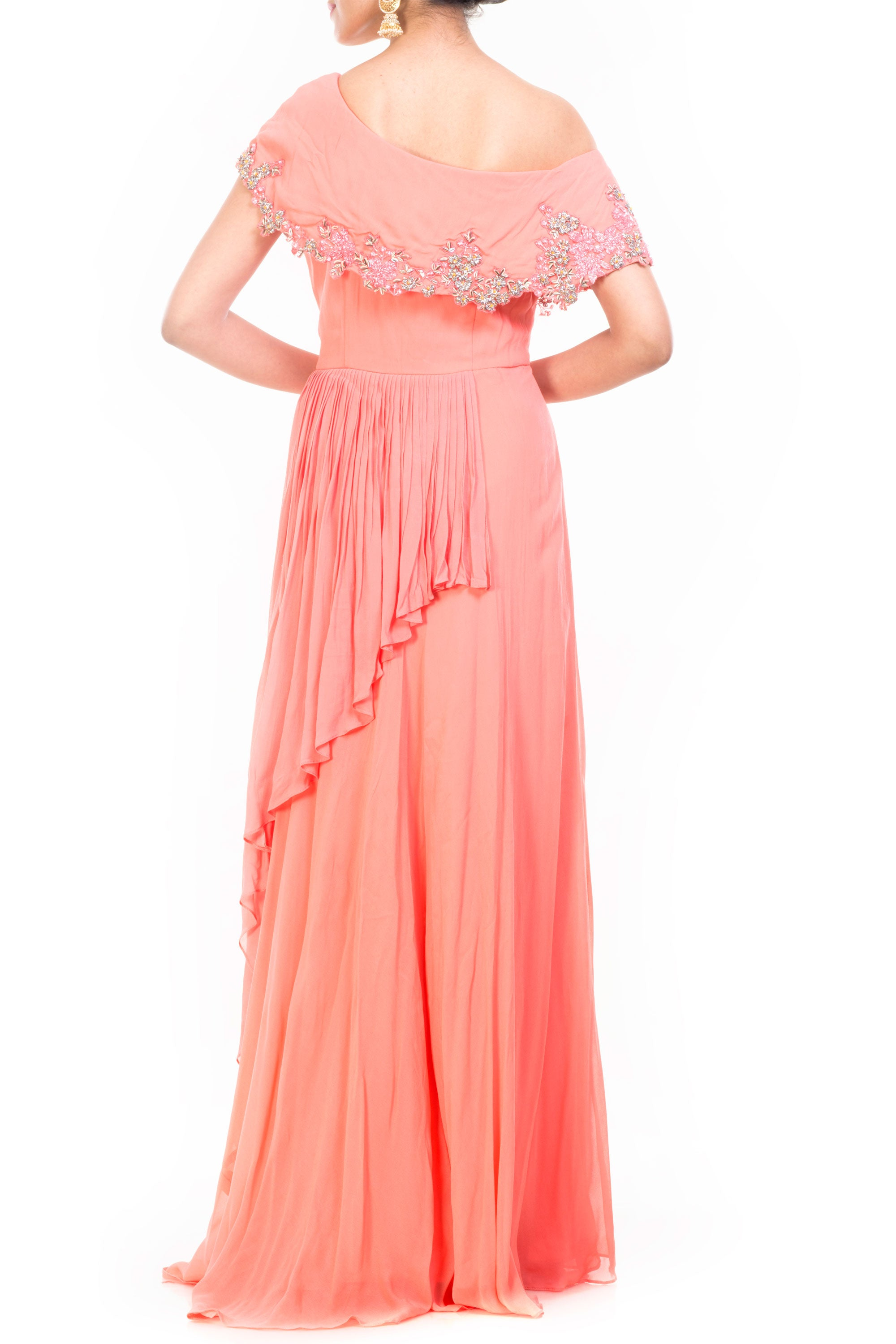 Peach Drop Shoulder Gown Back