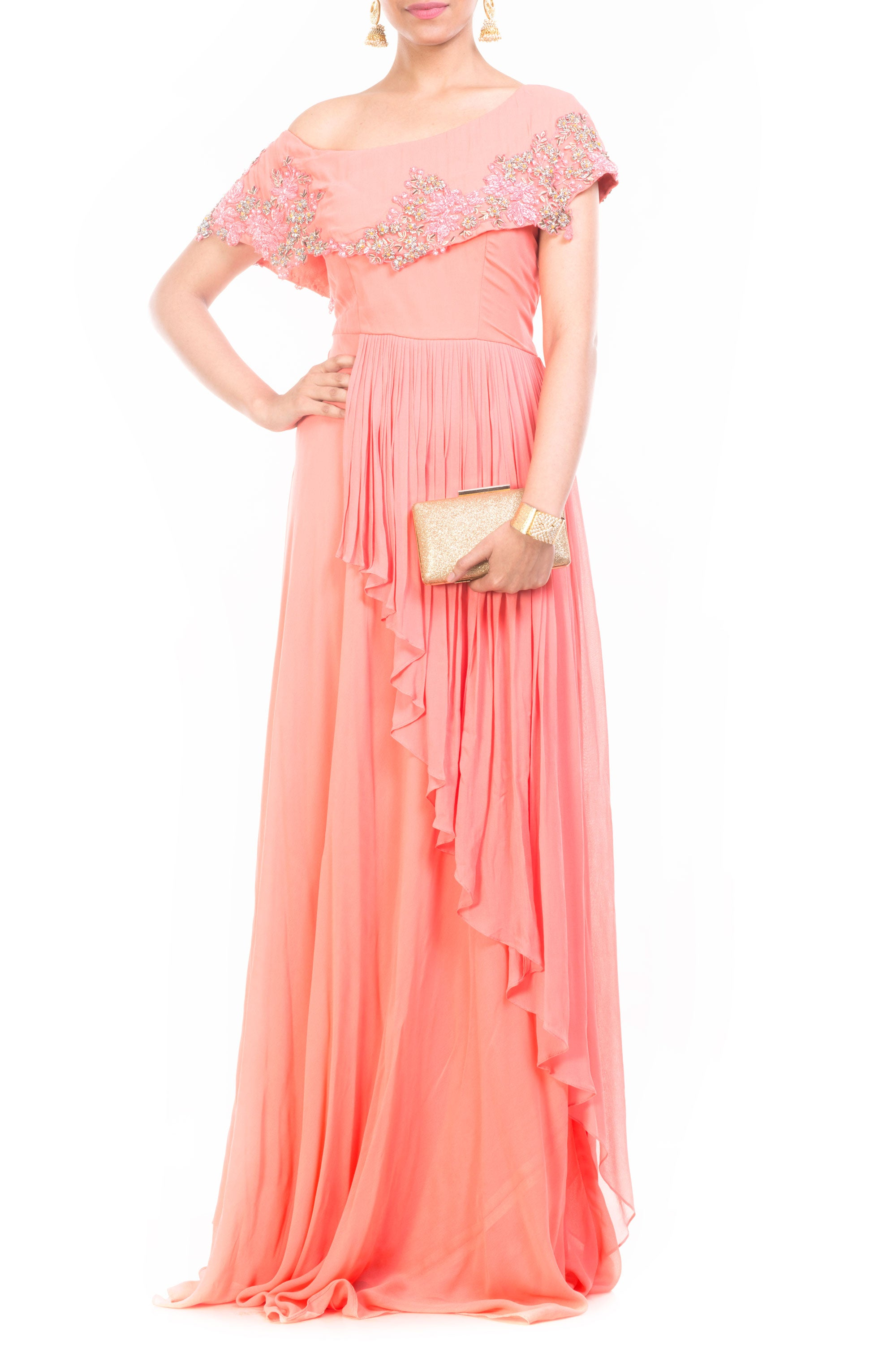 Peach Drop Shoulder Gown Front