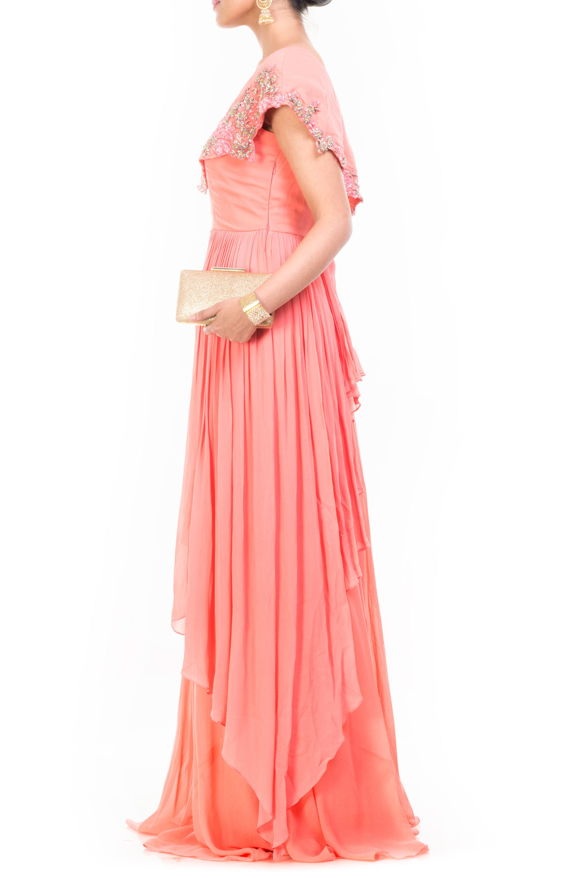 Peach Drop Shoulder Gown Side