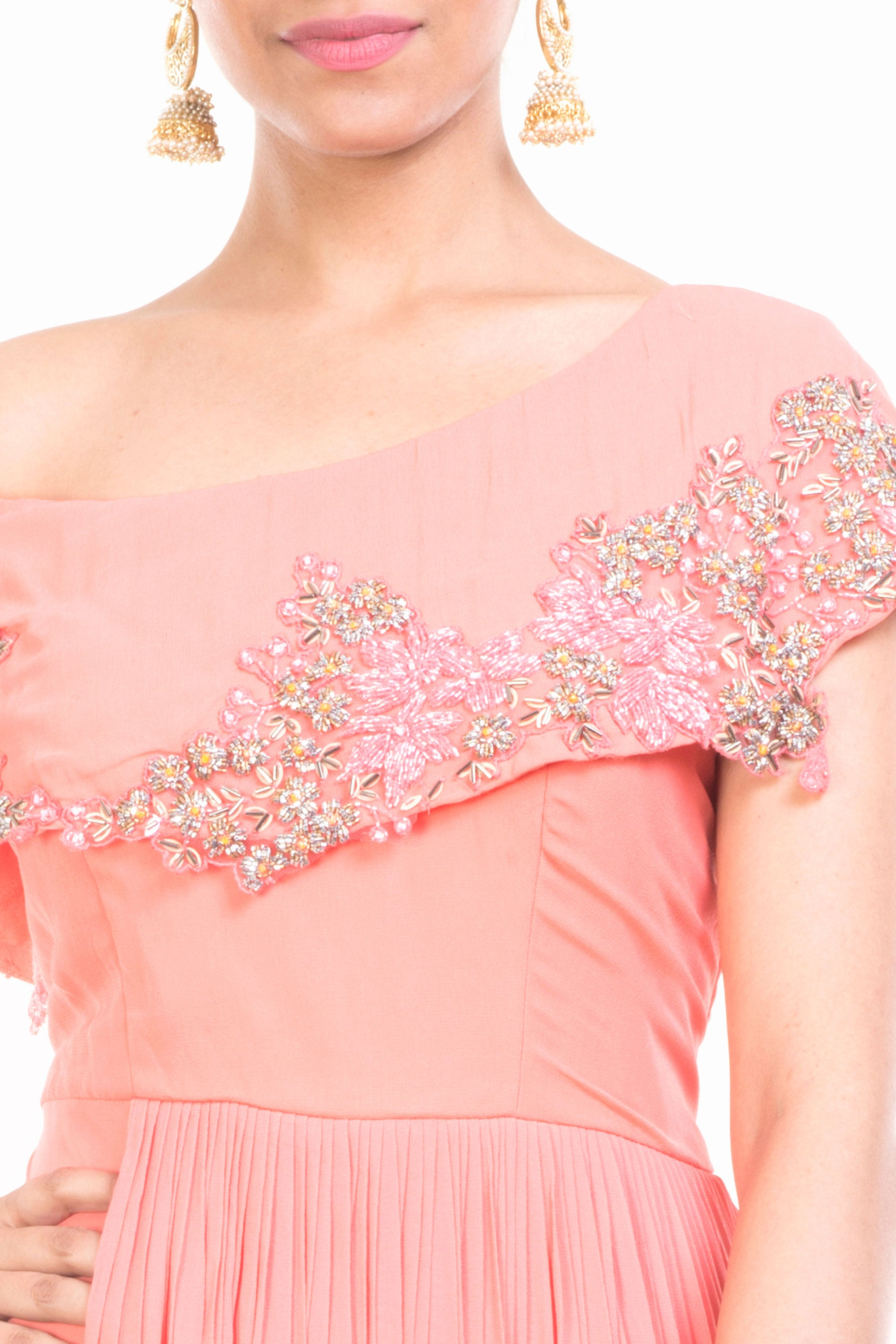 Peach Drop Shoulder Gown Closeup