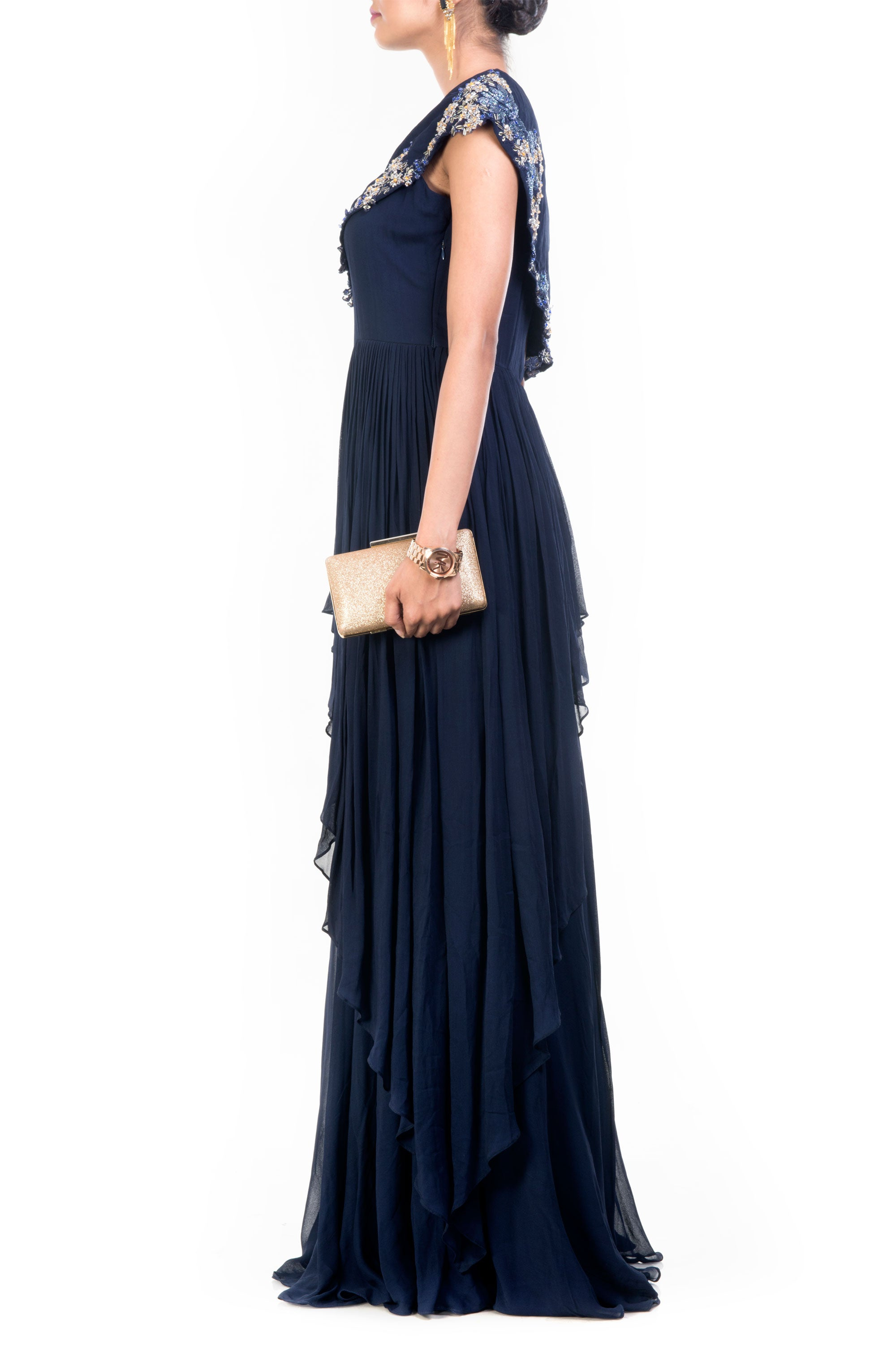 Navy Blue Drop Shoulder Gown Side