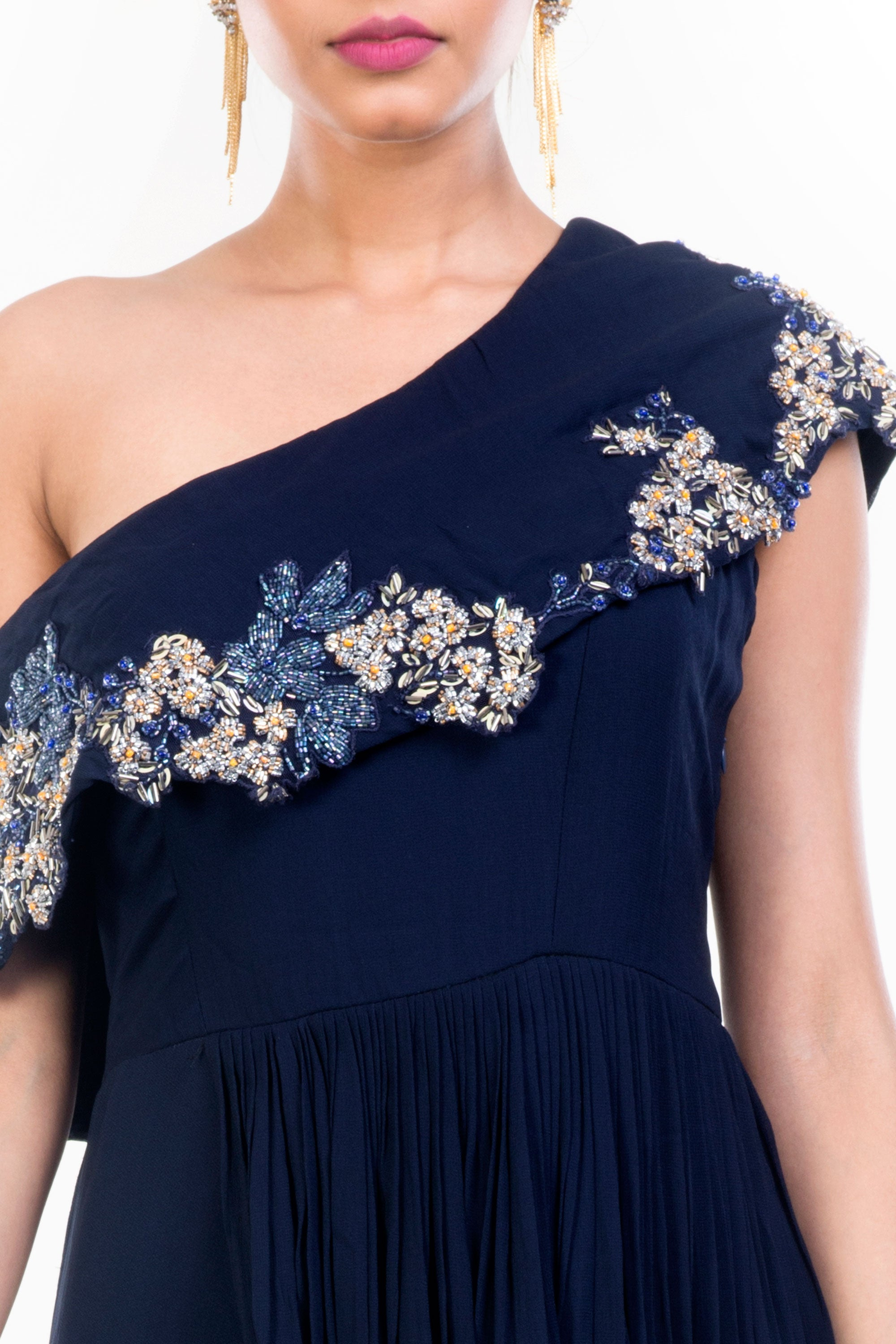 Navy Blue Drop Shoulder Gown Closeup