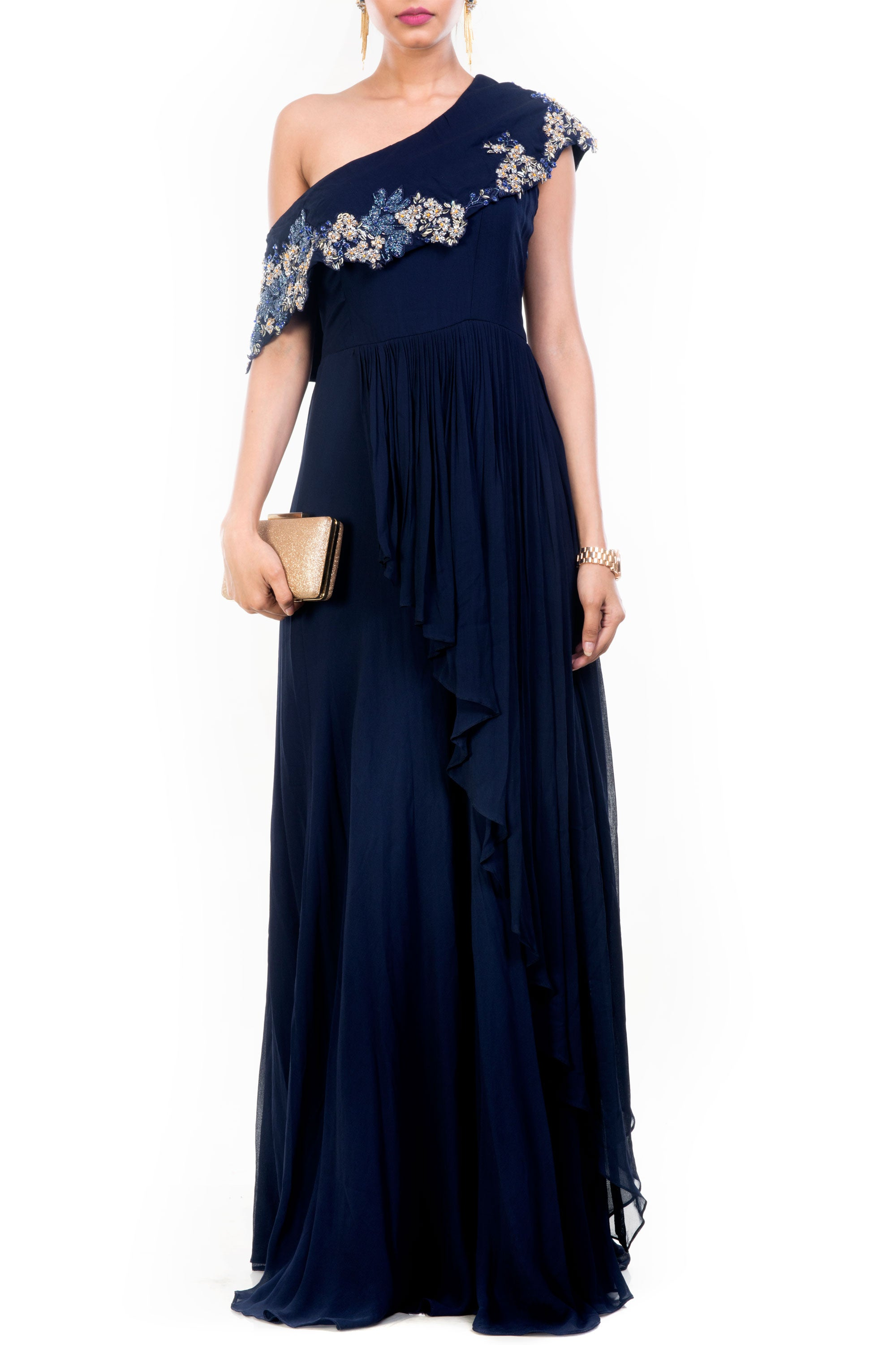 Navy Blue Drop Shoulder Gown Front