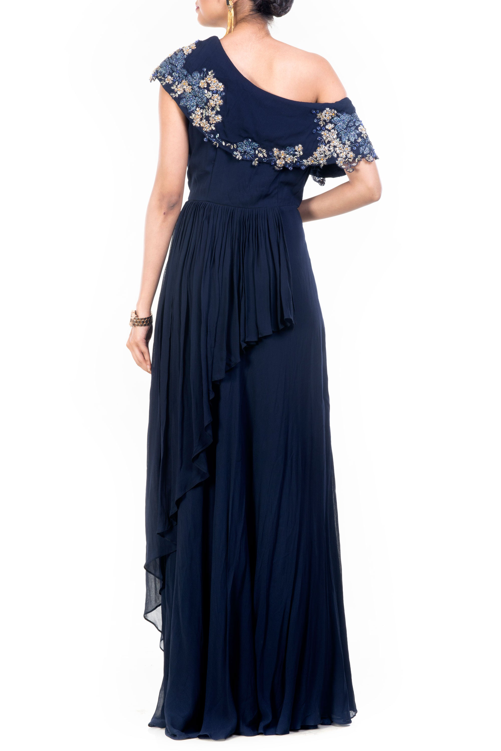 Navy Blue Drop Shoulder Gown Back