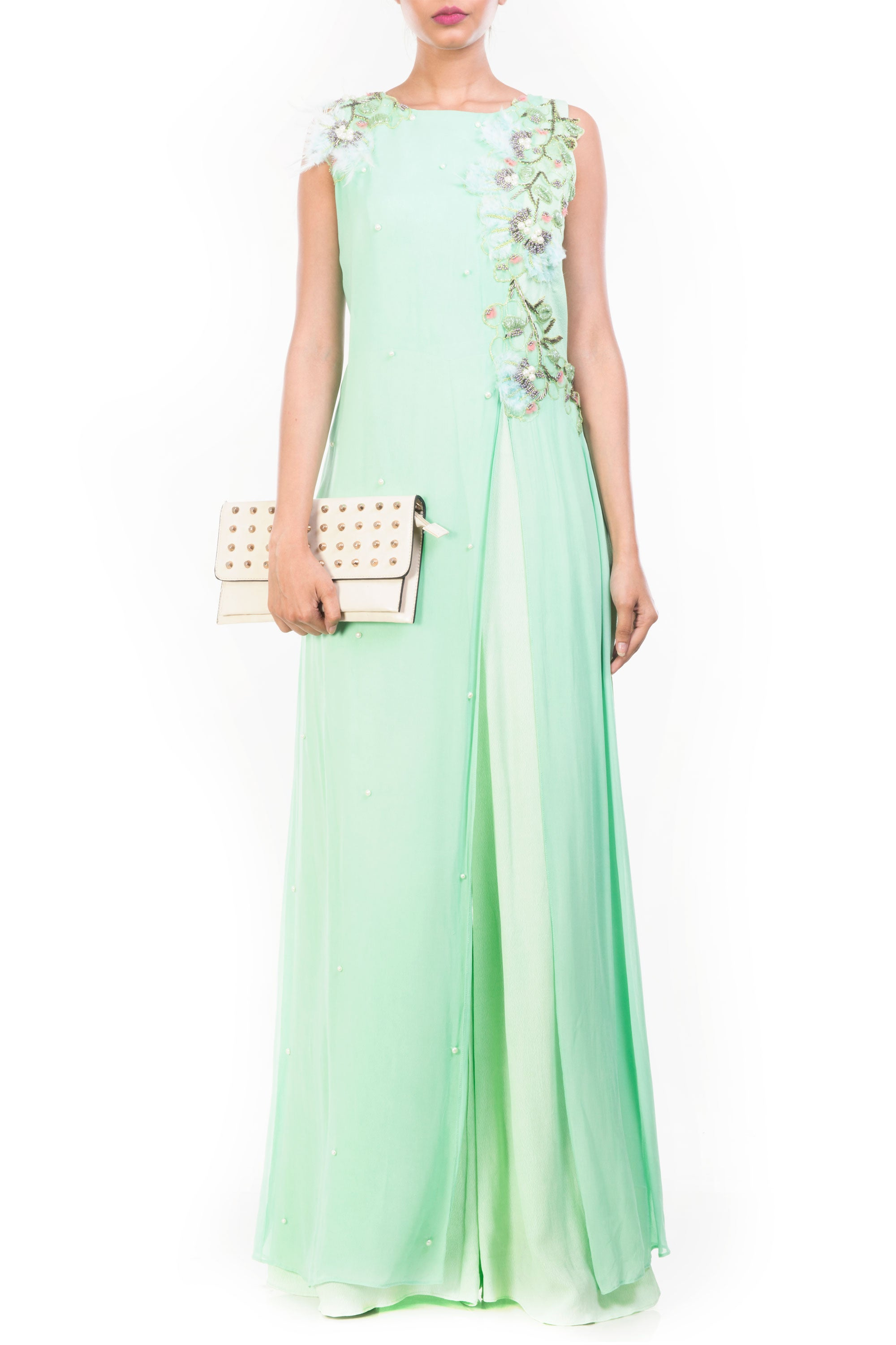 Green Apple Feather Jumpsuit Front