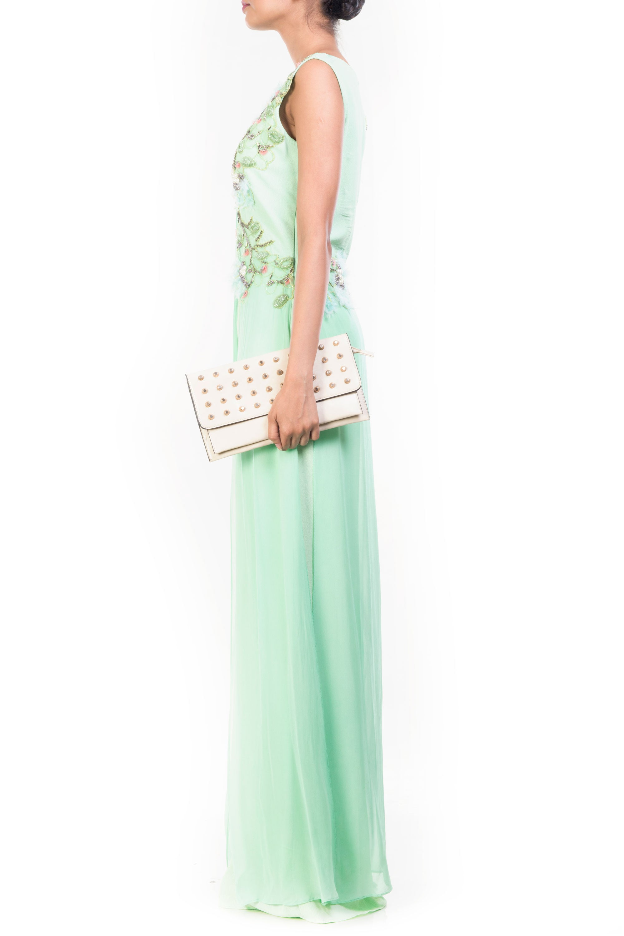 Green Apple Feather Jumpsuit Side