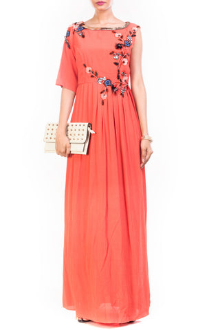 Tangerine High Slit Maxi & Slim Fit Trouser Set Front